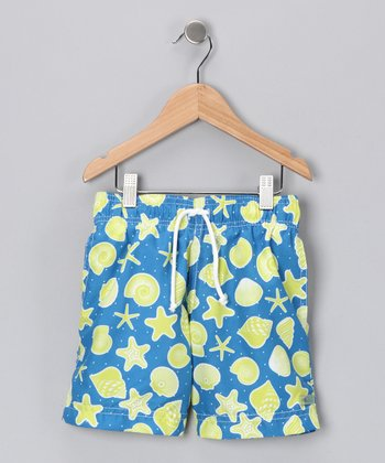 Turquoise Shell Swim Trunks - Infant & Toddler