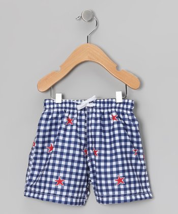 Blue Gingham Swim Trunks - Infant & Boys