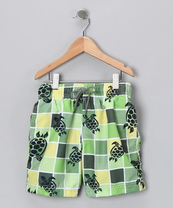 Green Grid Turtle Swim Trunks - Infant, Toddler & Boys