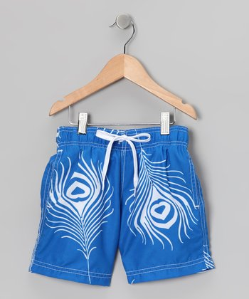 Blue Feather Swim Trunks - Infant, Toddler & Boys