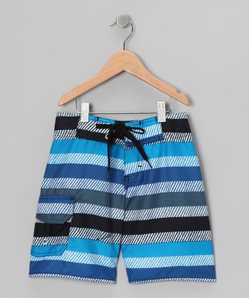 Blue Wavy Stripe Boardshorts - Boys