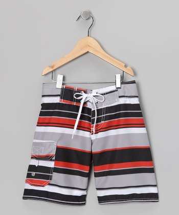 Red & Gray Americana Boardshorts - Boys