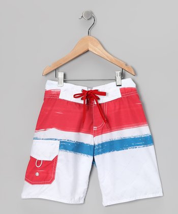 White & Red Paint Boardshorts - Boys