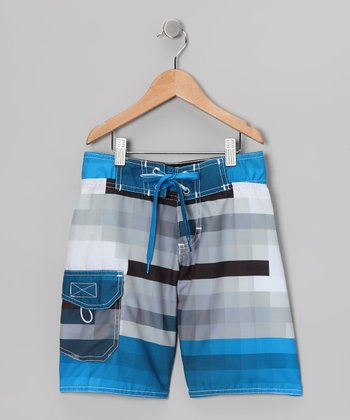 Blue & Gray Tetris Boardshorts - Boys