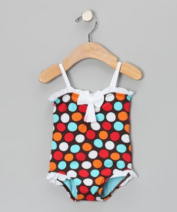 Brown & Blue Spot-On Ruffle One-Piece - Infant, Toddler & Girls