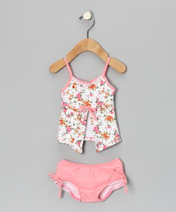 Pink La Vie en Rose Open Tankini - Infant, Toddler & Girls