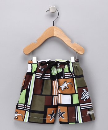 Brown Squares & Creatures Swim Trunks - Infant & Boys