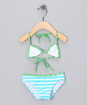 Turquoise Martha's Vineyard Triangle Bikini - Girls