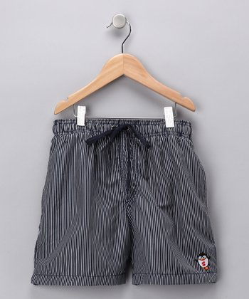 Dark Gray Pinstripe Swim Trunks - Boys