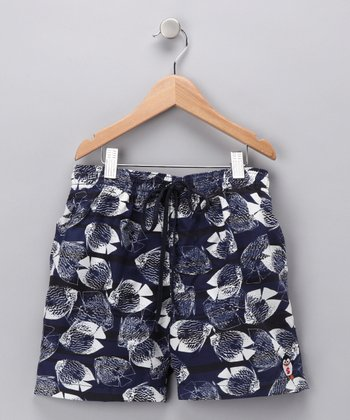 Gray Fish Swim Trunks - Boys
