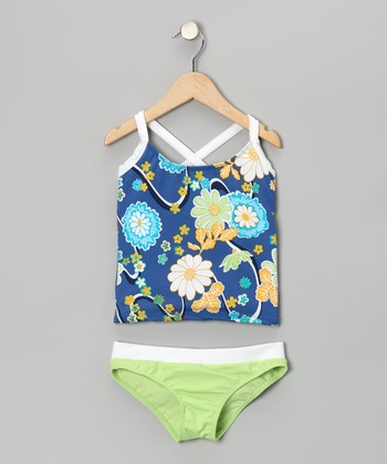 Green & Blue Nod-to-Mod Tankini - Girls