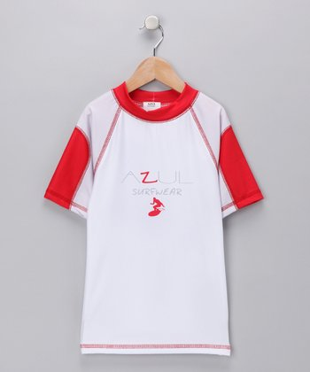 White & Red Short-Sleeve Rashguard - Toddler & Boys