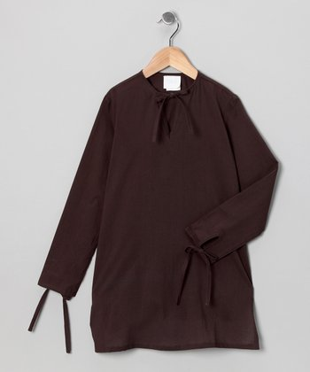 Brown Tie Tunic - Girls
