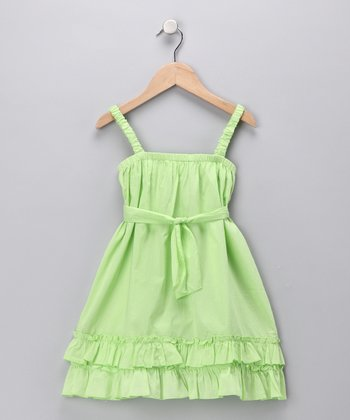 Green Ruffle Dress - Toddler & Girls