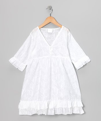 White Jacquard Tiered Tunic - Toddler & Girls