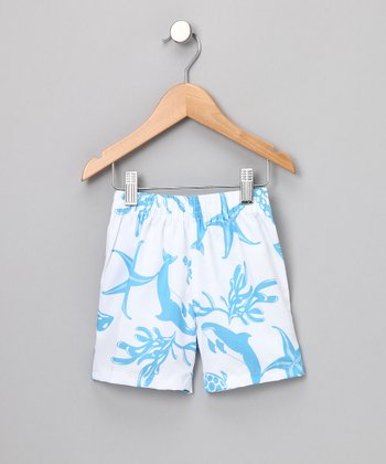 White Sea Creatures Swim Shorts - Boys
