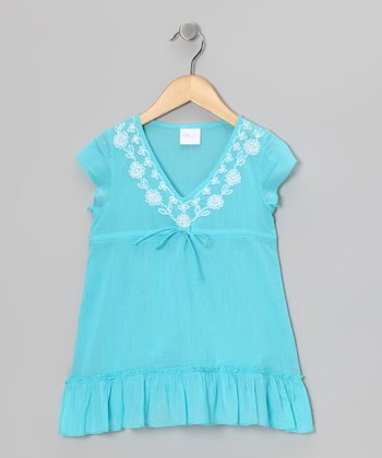 Turquoise Embroidered Tie Tunic - Toddler & Girls
