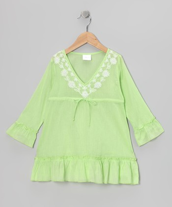 Green Long-Sleeve Ruffle Tunic - Toddler & Girls