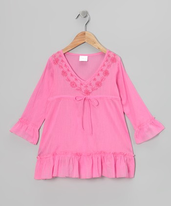 Pink Long-Sleeve Ruffle Tunic - Girls