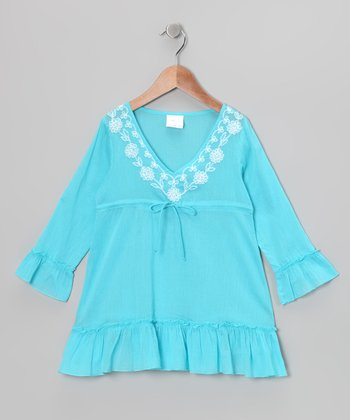 Turquoise Long-Sleeve Ruffle Tunic - Girls