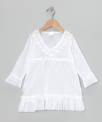 White Long-Sleeve Ruffle Tunic - Girls