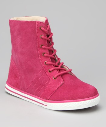 Hot Pink Suede Newport Hi-Top Sneaker - Kids