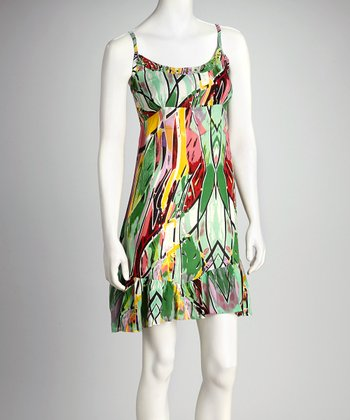 Green & Red Abstract Dress - Women