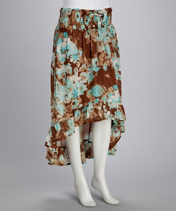 Turquoise & Brown Floral Hi-Low Skirt