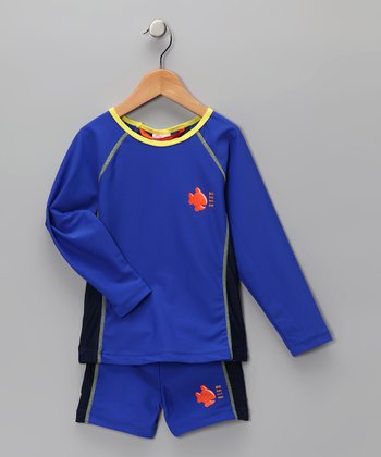 Blue Rashguard & Shorts - Kids