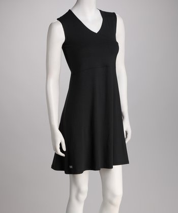 Black Asuka Maternity & Nursing Surplice Sleeveless Dress