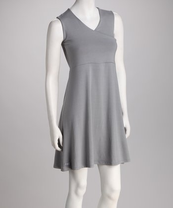 BIS.KOT Pearl Gray Asuka Maternity & Nursing Surplice Dress