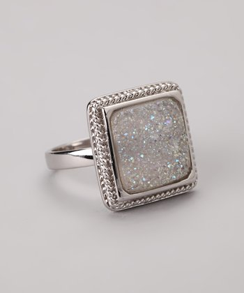 White & Silver Twist Square Ring
