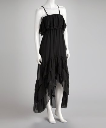 Black Tiered Hi-Low Dress