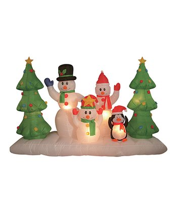 Snow Family & Penguin Inflatable Lawn Ornament