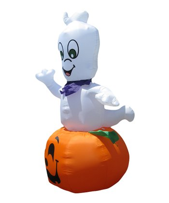Ghost on Pumpkin Inflatable Light-Up Lawn Decoration