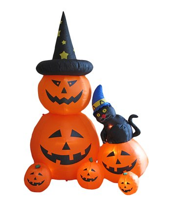 Pumpkin & Cat Inflatable Light-Up Lawn Decoration