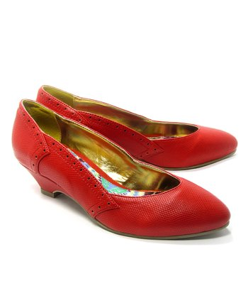 Red Irene Kitten Heel