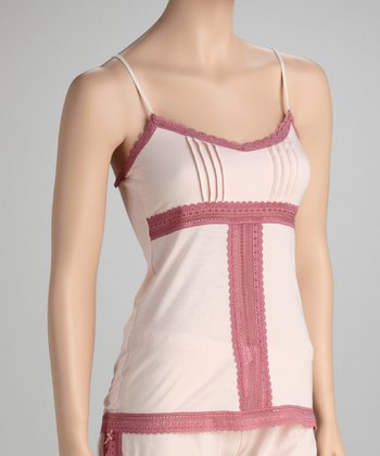 Petal Pink Pleated Lace Panel Camisole - Women