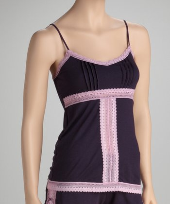 Plum Pleated Lace Panel Camisole - Women