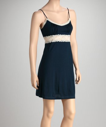 Teal Pleated Lace Panel Chemise - Women