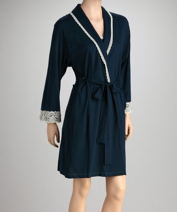 Teal Lace-Trim Robe - Women