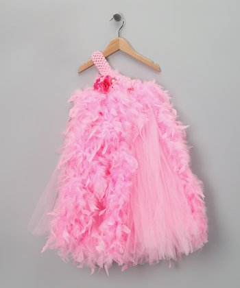 Pink Feather Asymmetrical Dress - Infant & Toddler