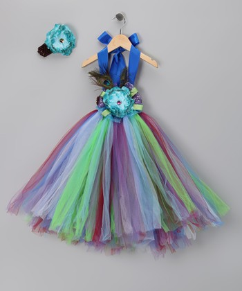 Blue Peacock Tutu Dress & Headband - Infant, Toddler & Girls