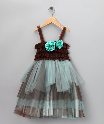 Teal & Brown Rosette Tulle Dress - Infant, Toddler & Girls