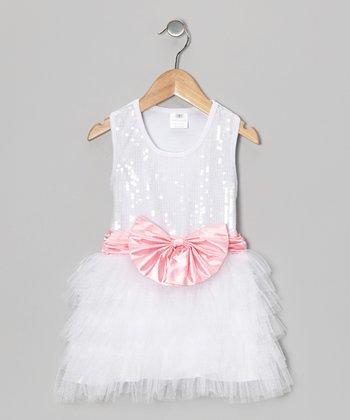 White Sequin Bow Tutu Dress - Toddler & Girls