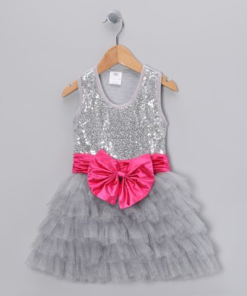 Silver Sequin Bow Tutu Dress - Toddler & Girls