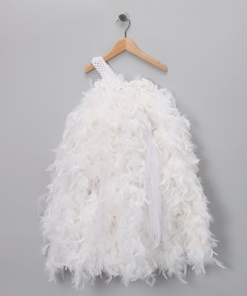 White Feather Asymmetrical Dress - Infant & Toddler