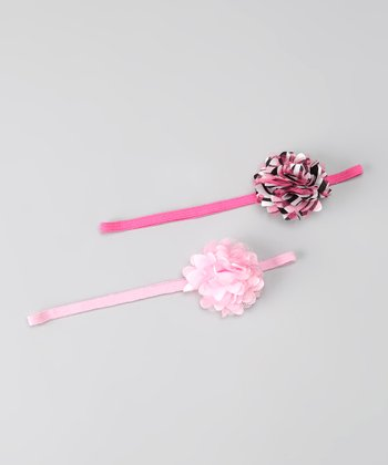 Baby Pink Zebra Puff Headband Set