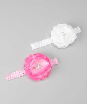 Baby Pink & White Floral Headband Set