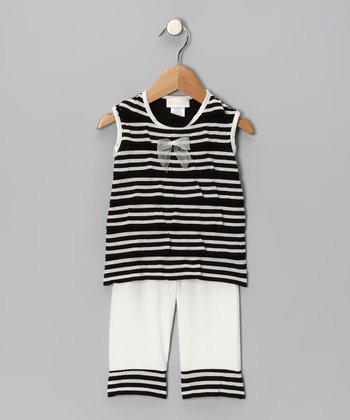 Black & Cream Stripe Ahoy Tank & Capri Pants - Infant & Toddler